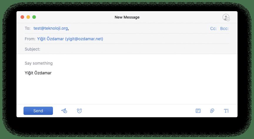 E-Posta gönderim ekranı
