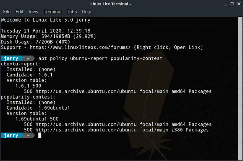 linux lite 5.0 telemetri