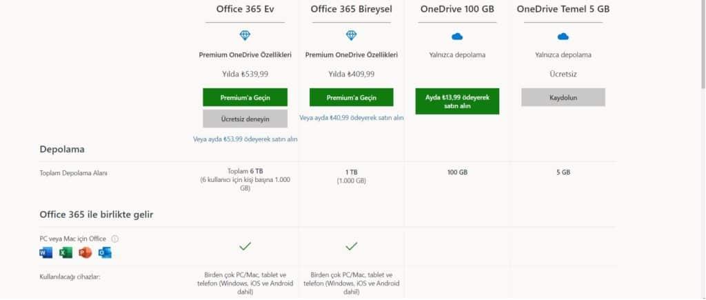 OneDrive fiyatlandırma