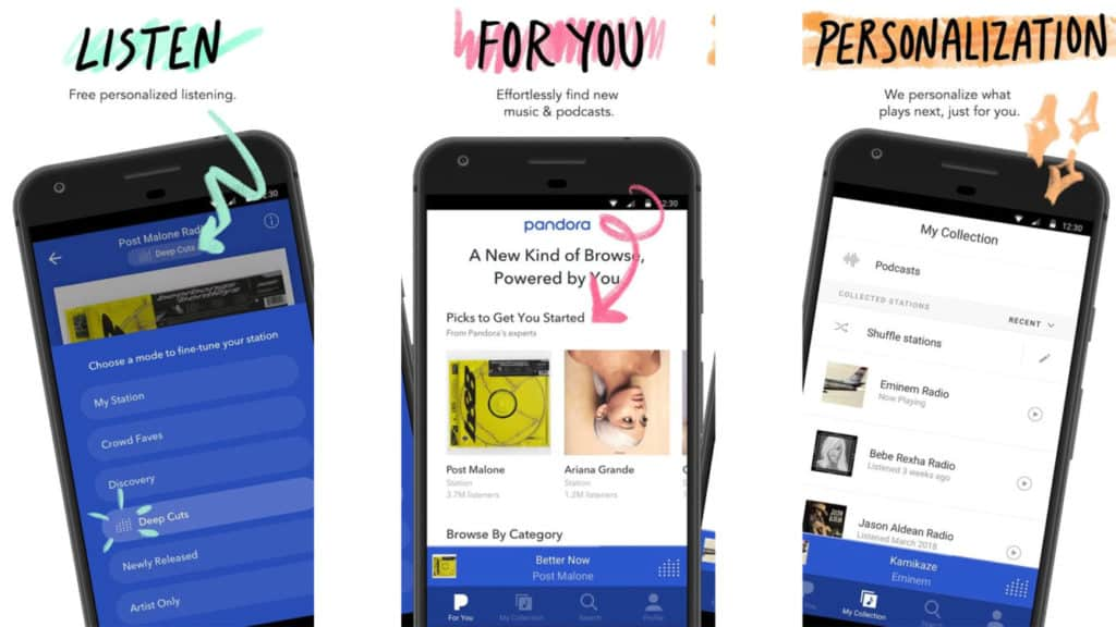 android için müzik platformu pandora