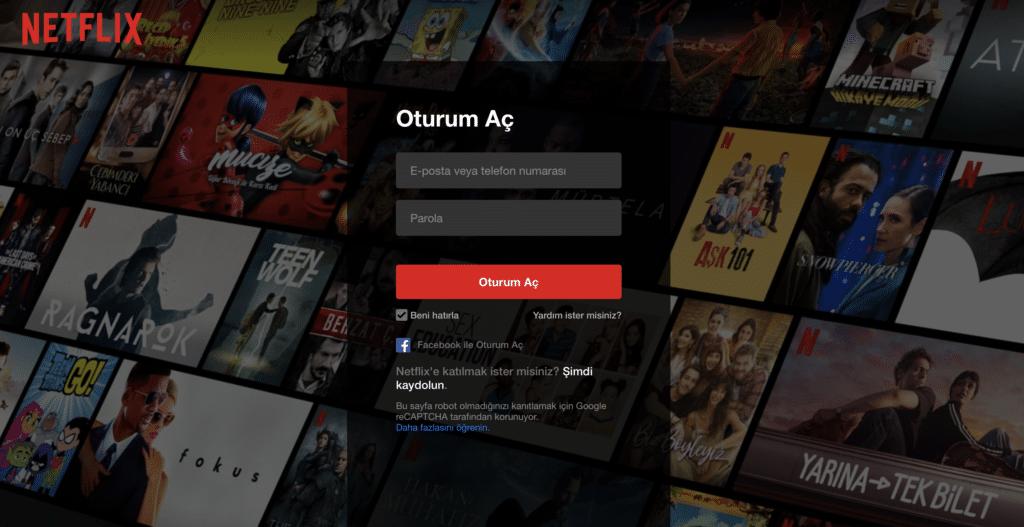 Netflix giriş sayfası