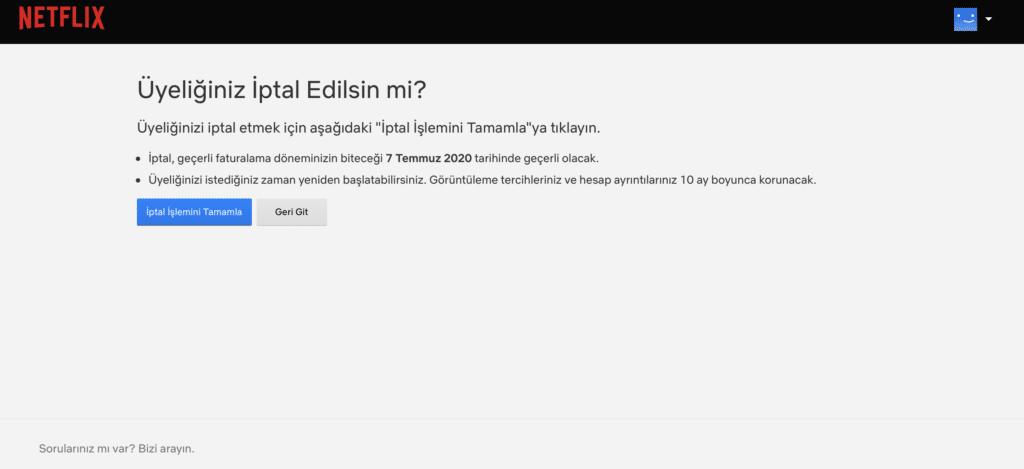 Netflix İptal Etme Sayfası