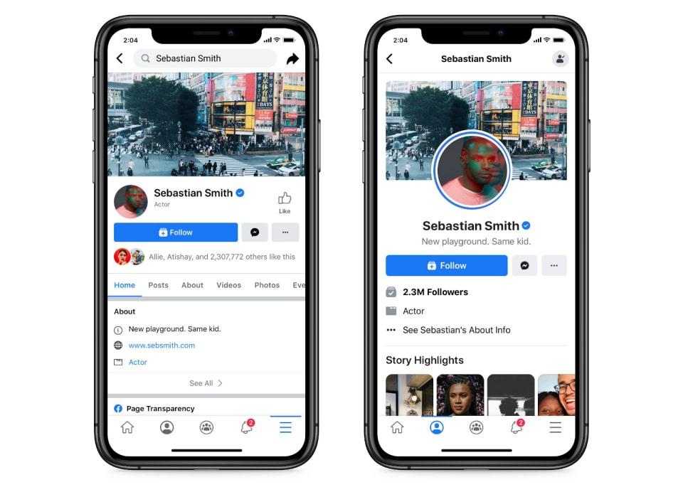 Facebook yeni sayfa düzeni. yeni ve eski görünüm karşılaştırması.