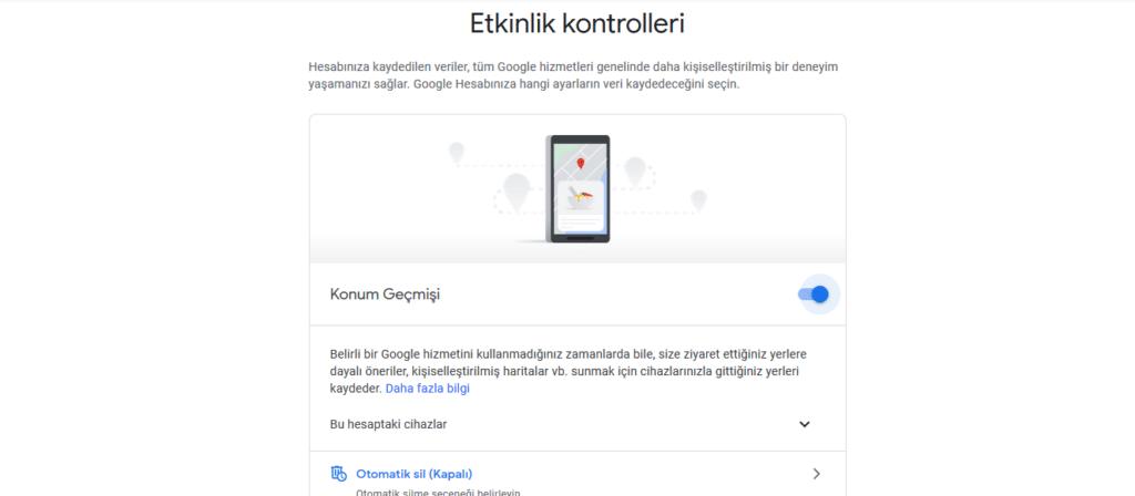 Google telefonunuzu nasıl kullanıyor? Etkinlik kontrolü kapatma.
