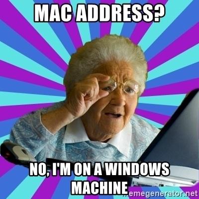 mac adresi windows