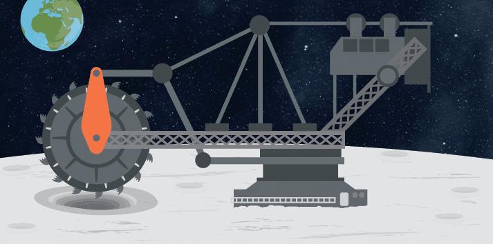 Ay'da madencilik için kullanılması planlanan makineler