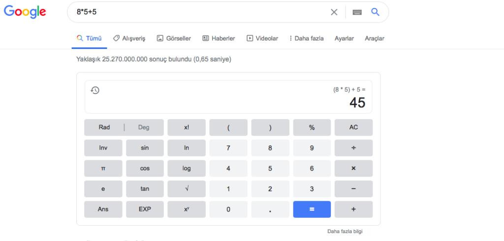 google arama komutları