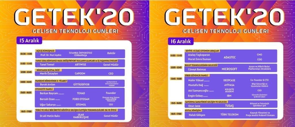 GETEK'20 15-16 Aralık Programı