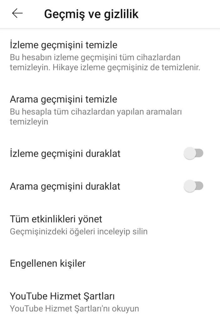 Google Uygulamaları için Gizlilik İpuçları: Youtube ayarları