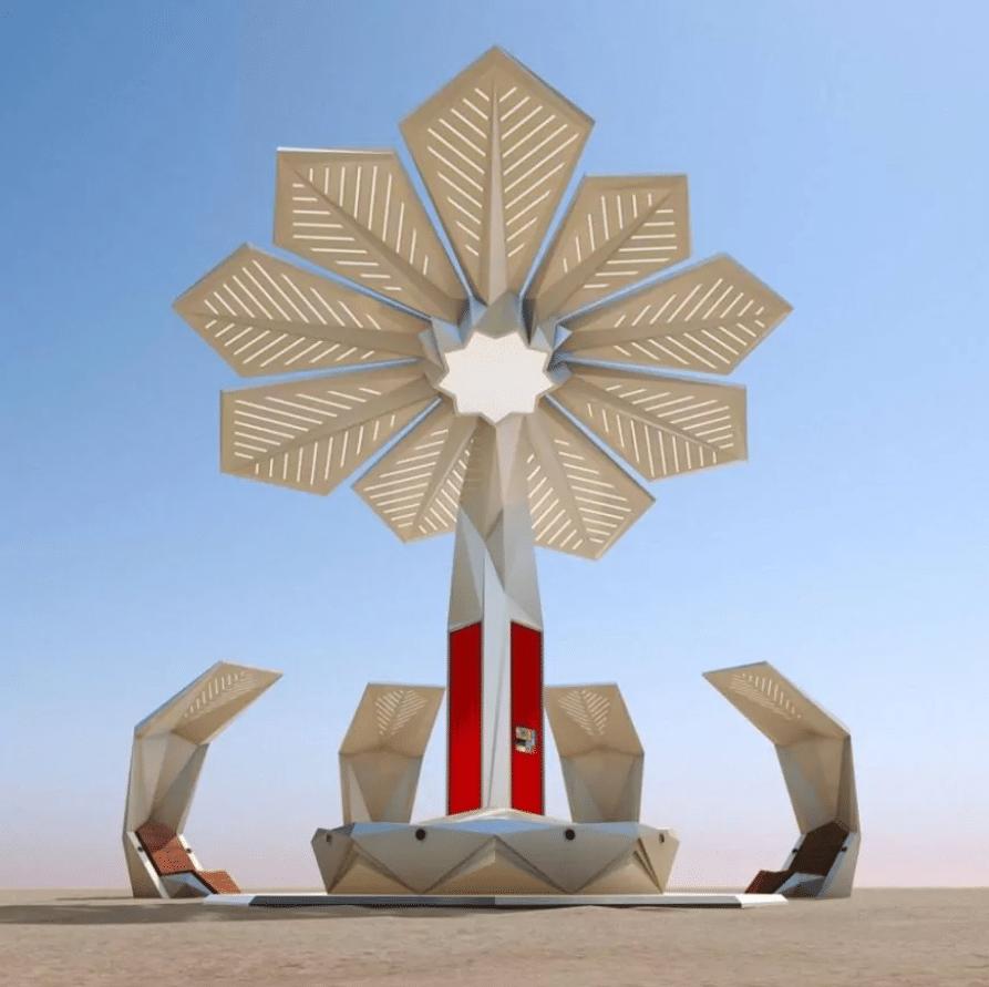 Dubai'deki güneş enerjisi üreten palmiye.