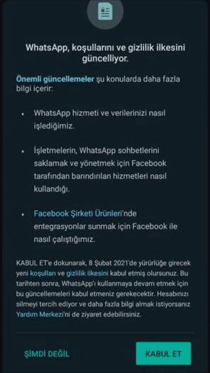 whatsapp veri paylaşımı