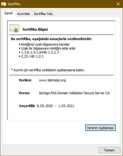 Teknoloji.org sitesinin sertifika görüntüsü