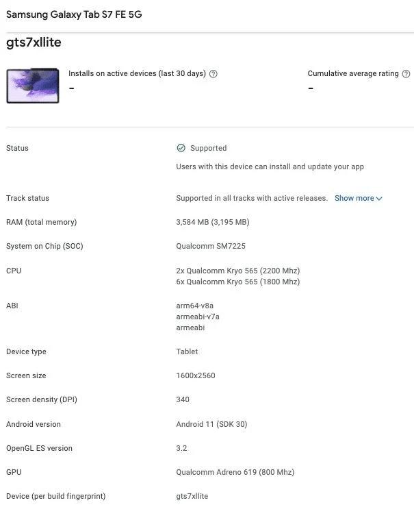 Galaxy Tab S7 FE Özellikleri