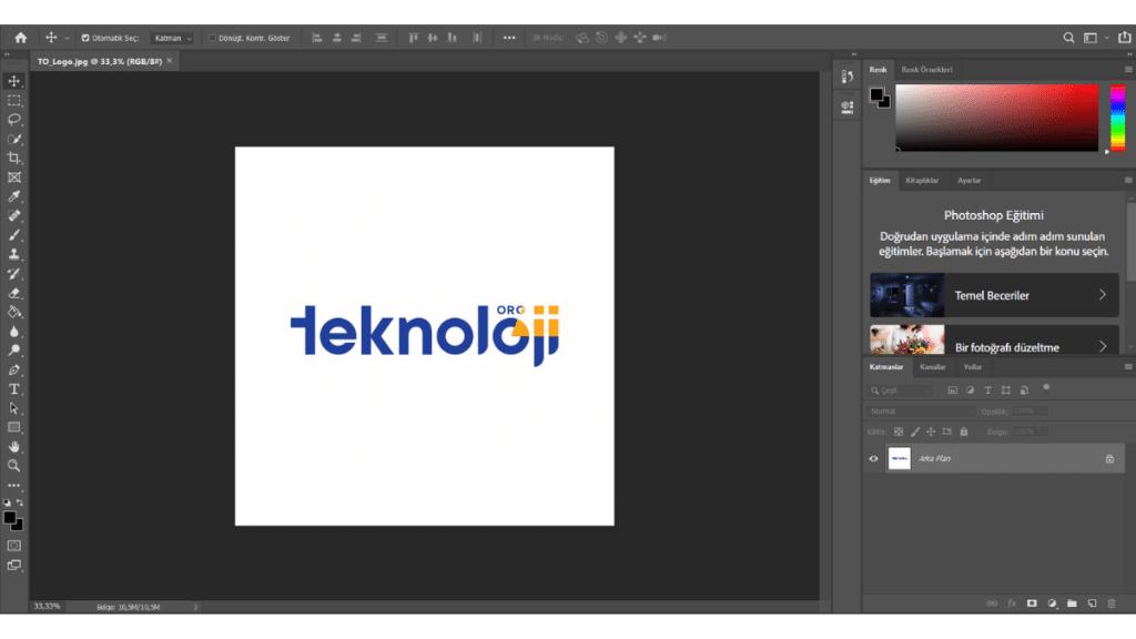 Adobe Photoshop çalışma ekranı