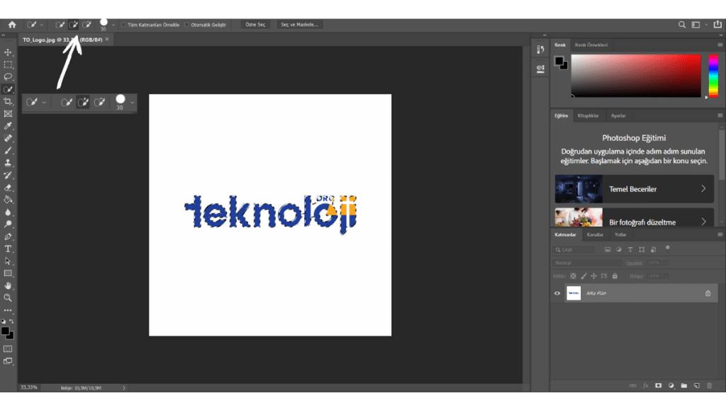 Photoshop nesne ya da yazı seçim ekranı