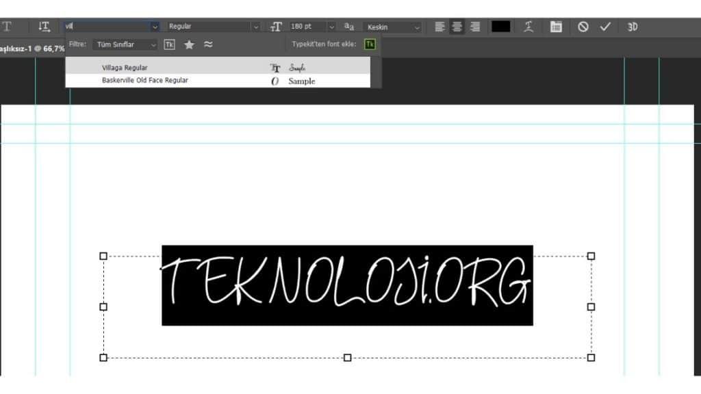 Adobe Photoshop Yazı Fontu Kullanıma Hazır.