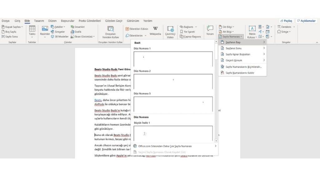 Microsoft-Word Secenekleri