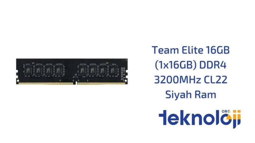 Team Elite 16GB (1x16GB) DDR4 3200MHz CL22 Siyah Ram